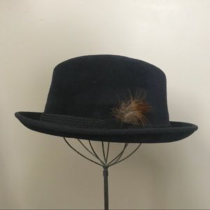 Vintage Hobbs Navy Blue Fleece Felt Fedora Hat